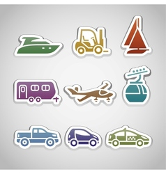 flat retro color stickers - set nine vector image