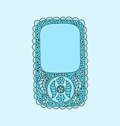 Floral smartphone with vintage flowers and doodles vector image