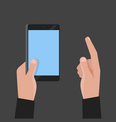 hand holding phone and touch smartphone screen vector image vector image