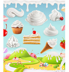 Whipped cream milk cream ice cream cake cupcake vector image vector image