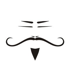 Chinese old man face with long mustache vector