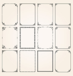 decorative frames and borders rectangle set 5 vector image vector image