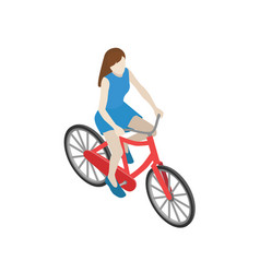 female cyclist riding on a bicycle flat 3d vector image