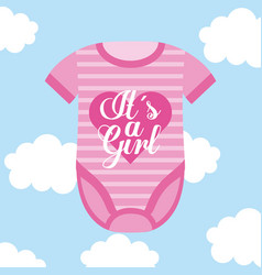 its a girl baby clothes card sky cloud background vector image
