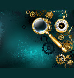 magnifier in steampunk style vector image