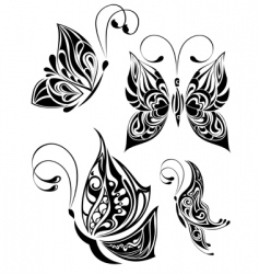 set of tattoo butterfly vector image vector image