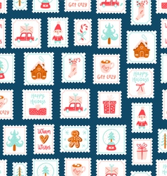 Winter holidays decorative post stamps seamless vector image vector image