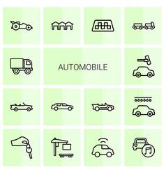 14 automobile icons vector