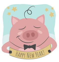 a cute pig and happy new year text vector image