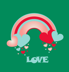 Abstract spring background raining hearts cloud vector