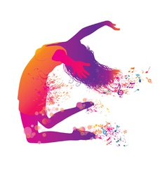 active jumping and dancing young woman vector image