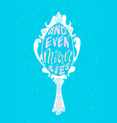 and even mirror lies lettering neon poster vector image