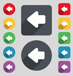 Arrow left Way out icon sign A set of 12 colored vector image