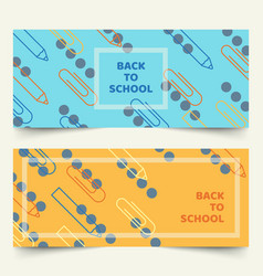 back to school simple geometric line banners vector image