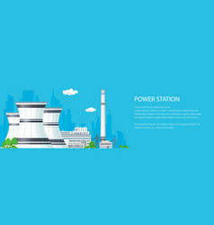 banner with power plant vector image