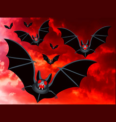 Bats on a red sky vector
