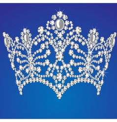 beautiful diadem feminine wedding on blue backgrou vector image
