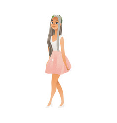 beautiful young girl woman in white and pink vector image