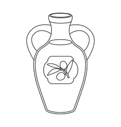 Bottle of olive oil icon in outline style isolated vector