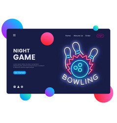 Bowling neon creative website template design vector