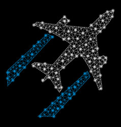 bright mesh network air jet trace with flare spots vector image