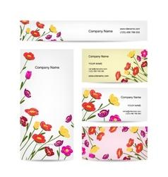 Business cards design floral bouquet vector