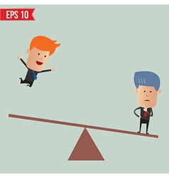 Business man with seesaw - - eps10 vector