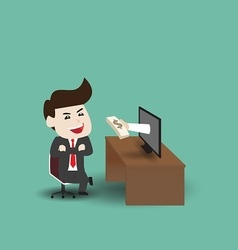 Businessman get money vector image