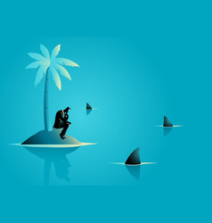 Businessman get stuck on island with water full vector