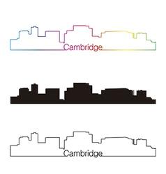 Cambridge skyline linear style with rainbow vector