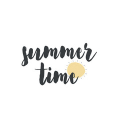 card with calligraphy lettering summer time and vector image