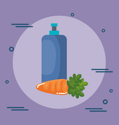 Carrot vegetable with bottle gym vector