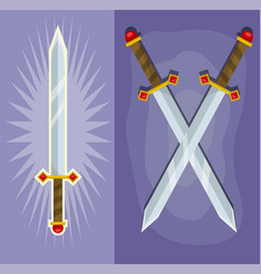 Cartoon crossed magic king steel sharp swords vector
