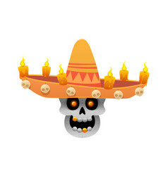 Cartoon mexican sugar skull for dia vector