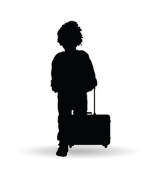 Child boy with travel bag silhouette vector