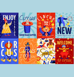 Circus posters and banners set vector