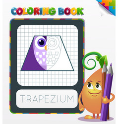 Coloring book geometric form trapezium vector