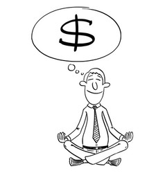 Comic cartoon investor or businessman sitting vector