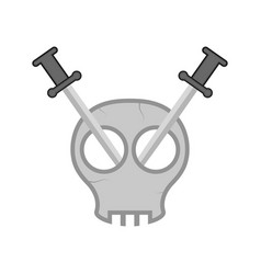 comic skull with swords vector image