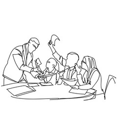 corporate team brainstorming group of business vector image