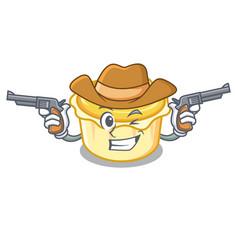 Cowboy egg tart character cartoon vector