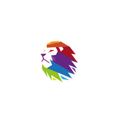 creative colorful lion head logo vector image