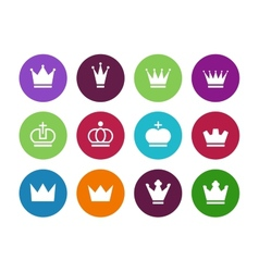 Crown circle icons on white background vector image