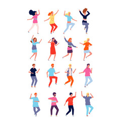 Dancing characters young persons in action poses vector
