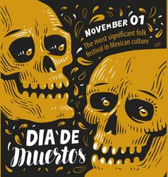 day dead poster mexican sugar skull vector image