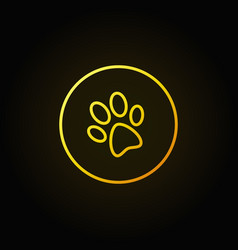 Dog paw print yellow icon vector