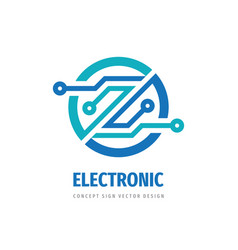 electronic digital logo design computer chip sign vector image