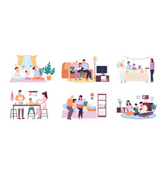 family spending time together moments life vector image