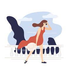Female character walking in windy or stormy vector
