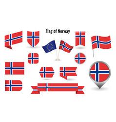 Flag norway big set icons and symbols vector